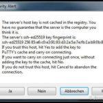 """Bei der ersten Verbindung warnt uns Putty, weil der SSH-Fingerabdruck noch unbekannt ist. Hier klicken wir auf """"Ja""""."""