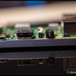 Die Anschlüsse von links nach rechts: Strom über Micro-USB, HDMI und Klinke Audio