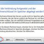 """Bei der ersten Verbindung müssen wir der """"Fingerabruck"""" unseres OpenVPN-Servers bestätigen."""