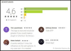 Bisher noch wenige aber dafür fast ausschließlich gute Bewertungen im Play Store