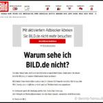 Die Webseite der BILD blockiert Seitenaufrufe mit Adblocker
