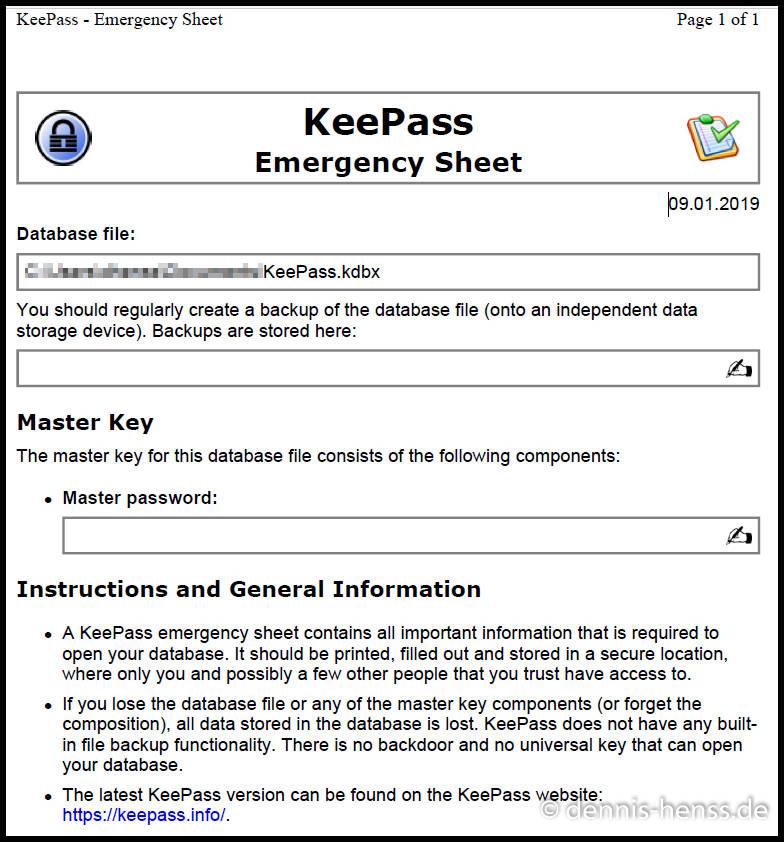 """Das """"Emergency Sheet"""" beinhaltet alle Informationen zu eurer Datenbank. Hier könnt ihr auch noch das gewählte Kennwort mit vermerken."""