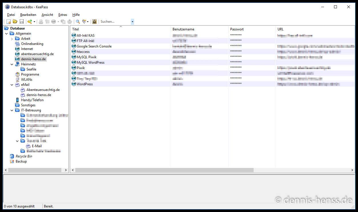 Hier mal ein Blick in meine KeePass-Datenbank.