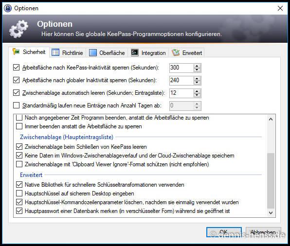 Hier sehr ihr meine KeePass-Konfiguration als Vorschlag.